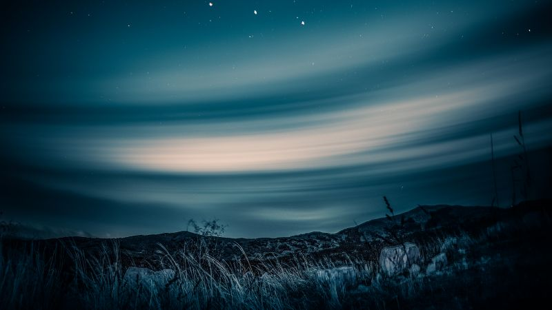 Aurora Borealis, Night sky, Stars, Landscape, Starry sky, Wallpaper