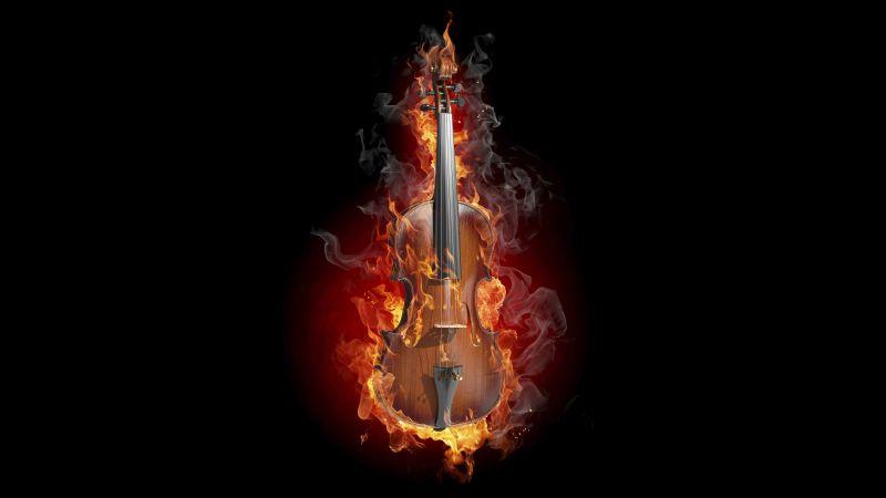 Violin, Fire, Black background, AMOLED, Wallpaper