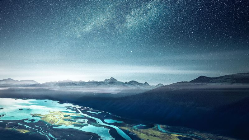 Mountains, Starry sky, Cold, Night, Aerial view, Landscape, 5K, Wallpaper