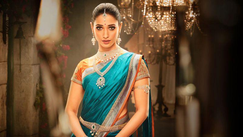 Tamanna Bhatia, Indian actress, Bollywood actress, Telugu heroine, Tollywood, Jewellery, Saree, Traditional, Wallpaper