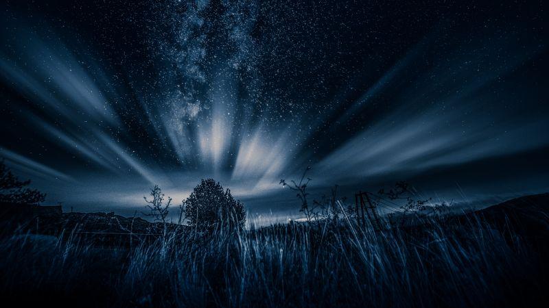 Starry sky, Northern Lights, Dark, Night, Landscape, Cold, 5K, Wallpaper