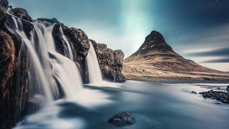 Waterfall, Scenic, Rocks, Aurora Borealis, Northern Lights, Mountain, 5K, Wallpaper