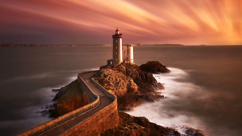 Lighthouse, Sunset, Seascape, Twilight, Dusk, Wallpaper