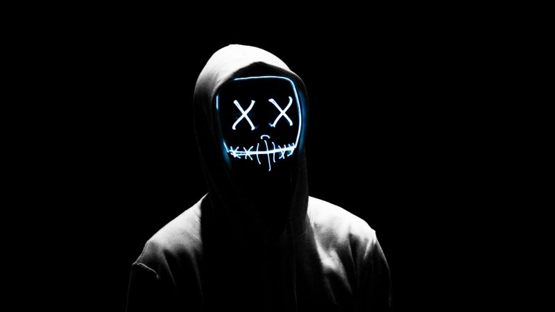 Man, LED mask, Anonymous, Black background, AMOLED, Hoodie, 5K, Wallpaper
