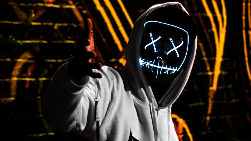 Man, LED mask, Dope, Dark, Anonymous, Hoodie, 5K, Wallpaper
