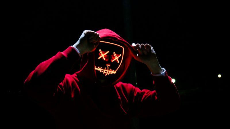 Man, LED mask, Dope, Night, Anonymous, Hoodie, Dark, 5K, AMOLED, Wallpaper