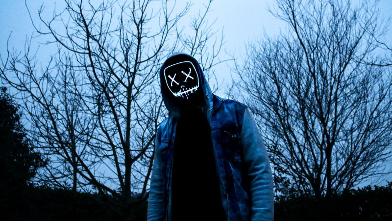 Man, LED mask, Dope, Evening, Anonymous, Hoodie, 5K, Wallpaper