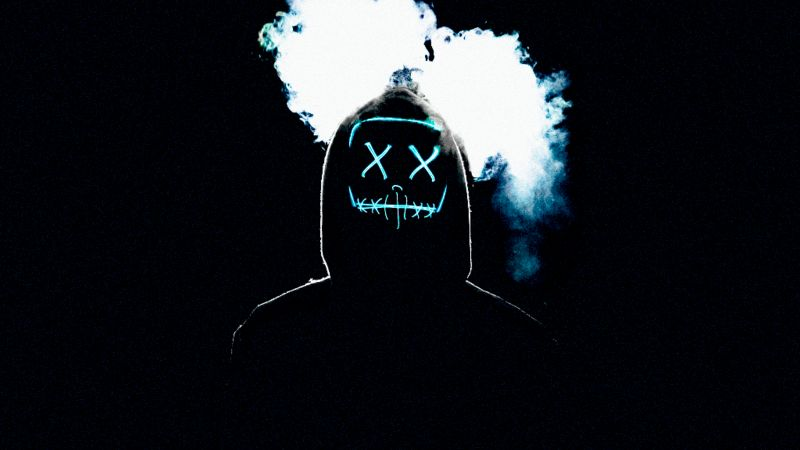 Man, LED mask, AMOLED, Smoke, Black background, Anonymous, Wallpaper