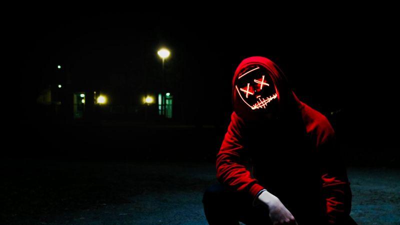 Man, LED mask, Dope, Night, Anonymous, Hoodie, Dark, 5K, Wallpaper