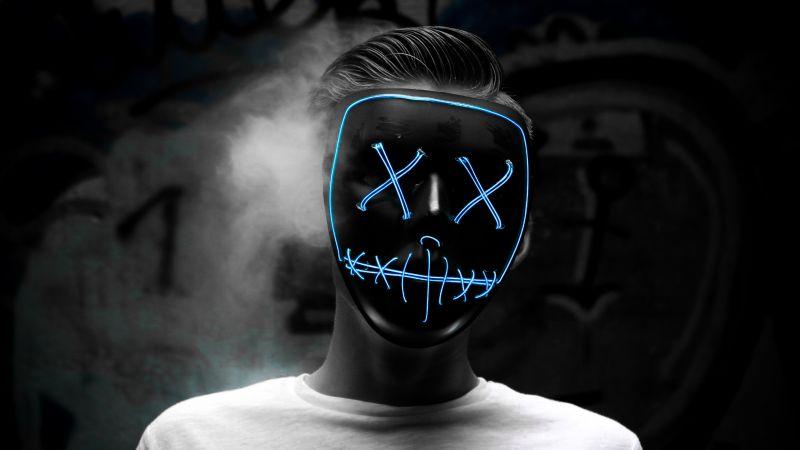 Man, LED mask, Smoke, Dark, Anonymous, Wallpaper