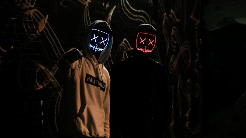Friends, Anonymous, LED masks, Dark, Hoodie, 5K, Wallpaper