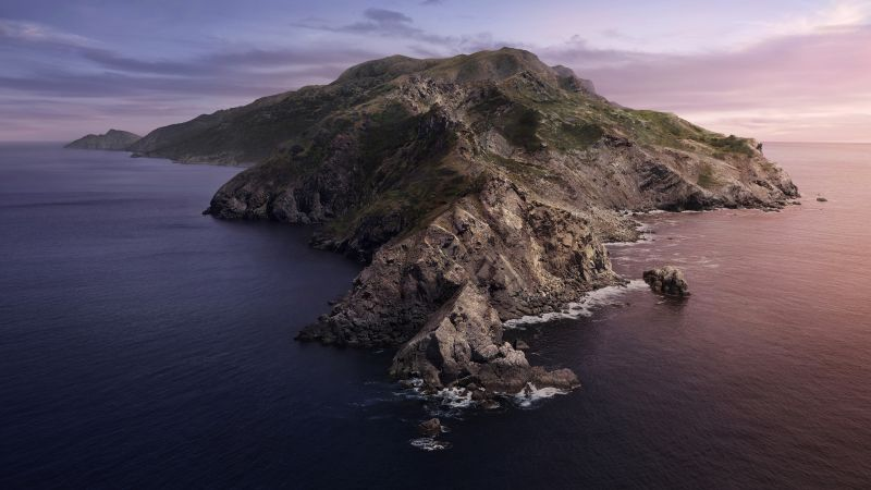 macOS Catalina, Mountains, Island, Daytime, Stock, 5K, Wallpaper