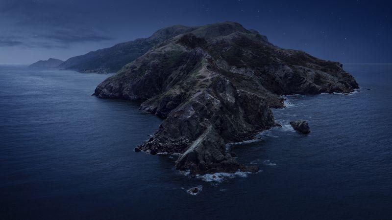macOS Catalina, Mountains, Island, Night, Stock, 5K, Wallpaper