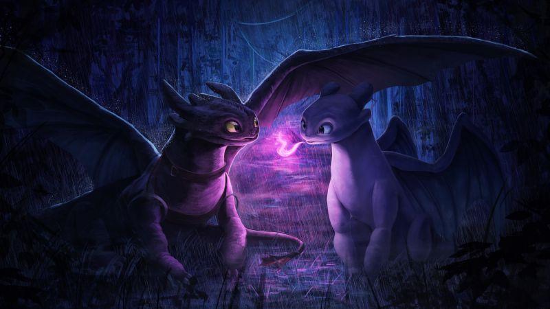 Night Fury, Light Fury, How to Train Your Dragon, Wallpaper