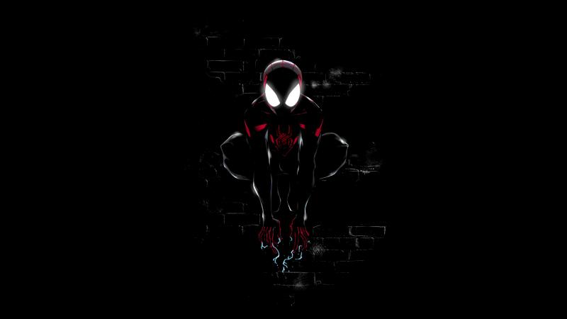 Miles Morales, Spider-Man, Dark, Black background, Artwork, 5K, 8K, Wallpaper