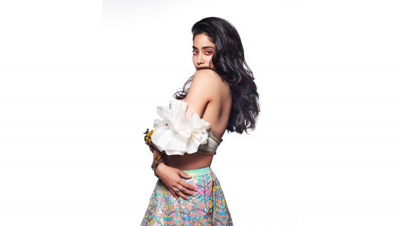 Janhvi Kapoor, White background, Indian actress, Bollywood actress, 5K, 8K, Wallpaper