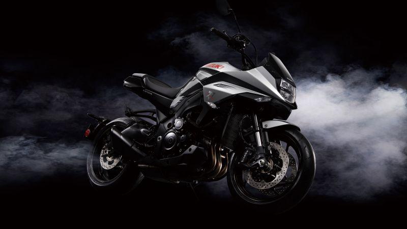 Suzuki GSX-S1000S Katana, Black background, Smoke, 5K, 8K, Wallpaper