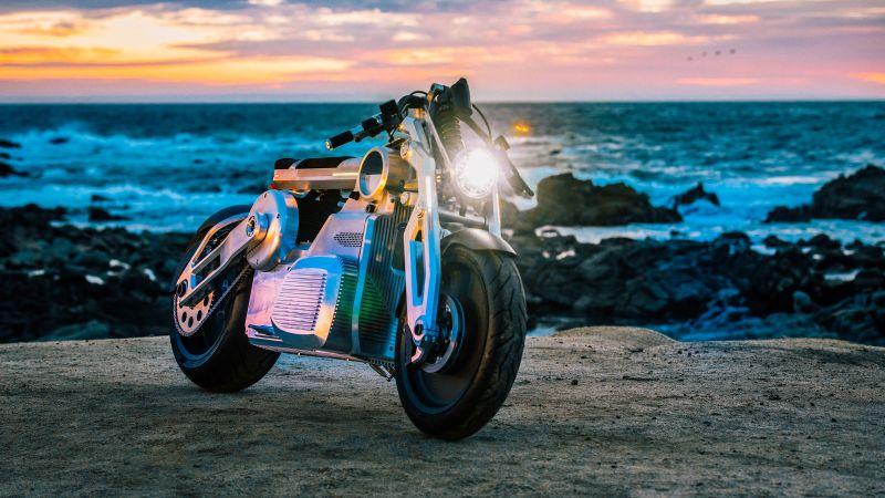 Curtiss Zeus Concept Prototype, Electric bikes, Beach, 5K, Wallpaper