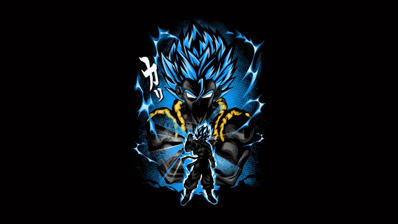 Goku, Fusion attack, Dragon Ball Z, Anime series, Black background, AMOLED, 5K, 8K, Wallpaper