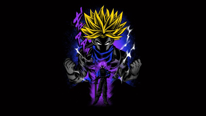 Son Goku, Dragon Ball Z, Anime series, Black background, AMOLED, 5K, 8K, Wallpaper