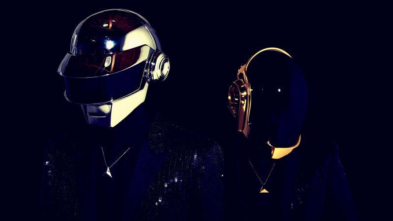 Daft Punk, Electronic music duo, Black background, 5K, Wallpaper