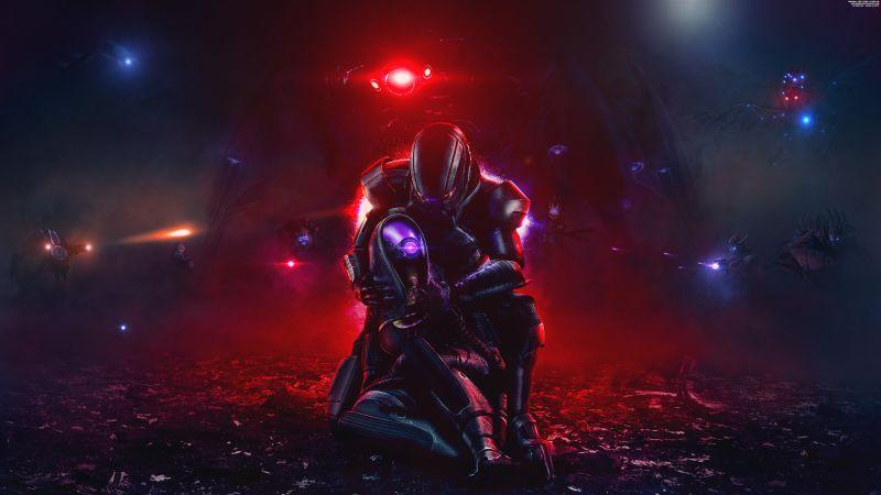 Mass Effect, Tali'Zorah, Commander Shepard, Sci-Fi, 5K, 8K, Wallpaper