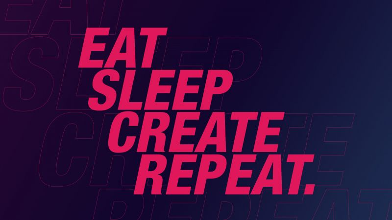 Eat, Sleep, Create, Repeat, Inspirational quotes, Neon, Pink, Typography, Wallpaper