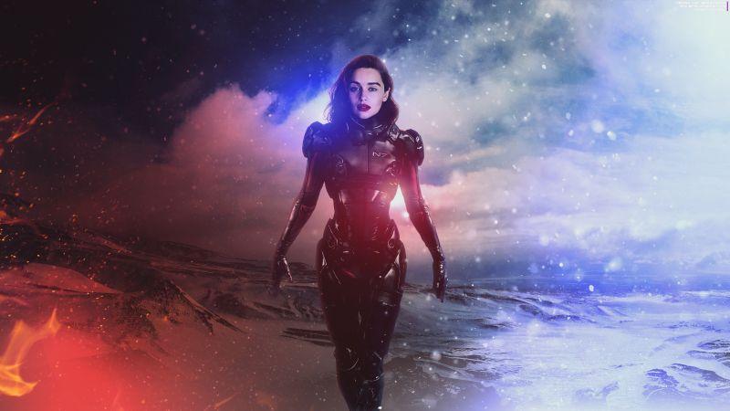 Emilia Clarke, Mass Effect: Andromeda, Commander Shepard, Female Shepard, Wallpaper