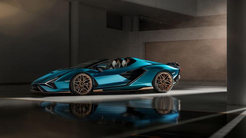 Lamborghini Sián Roadster, 2020, 5K, Wallpaper