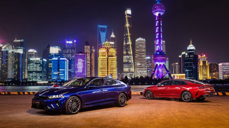 Kia K5 GT-Line, Shanghai, Cityscape, Night, City lights, 2020, 5K, Wallpaper