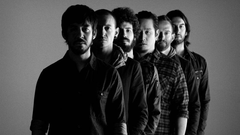 Linkin Park, American rock band, Joe Hahn, Dave Farrell, Brad Delson, Mike Shinoda, Rob Bourdon, Chester Bennington, Monochrome, 5K, Wallpaper