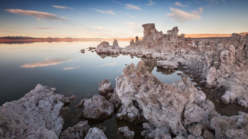Mono Lake, Rocky shore, Sunset, Dusk, Wallpaper