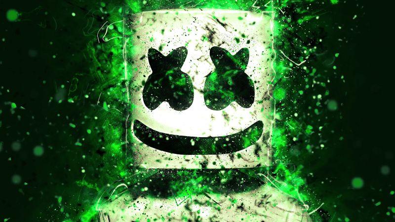 Marshmello, American DJ, Abstract, Green, Wallpaper