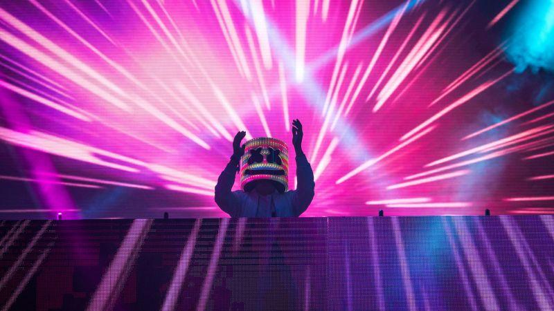 Marshmello, Live concert, American DJ, LED lighting, Neon, Wallpaper