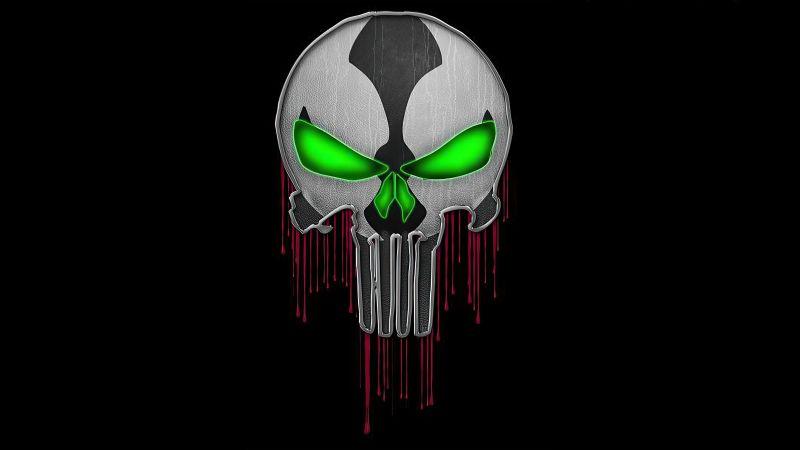 Spawn, Skull, Punisher, Black background, AMOLED, Wallpaper