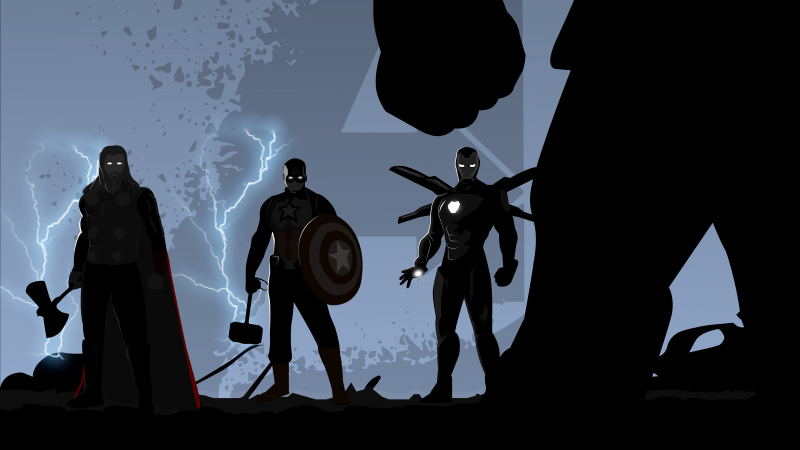 Avengers: Endgame, Thor, Captain America, Iron Man, Thanos, Illustration, Black, Wallpaper