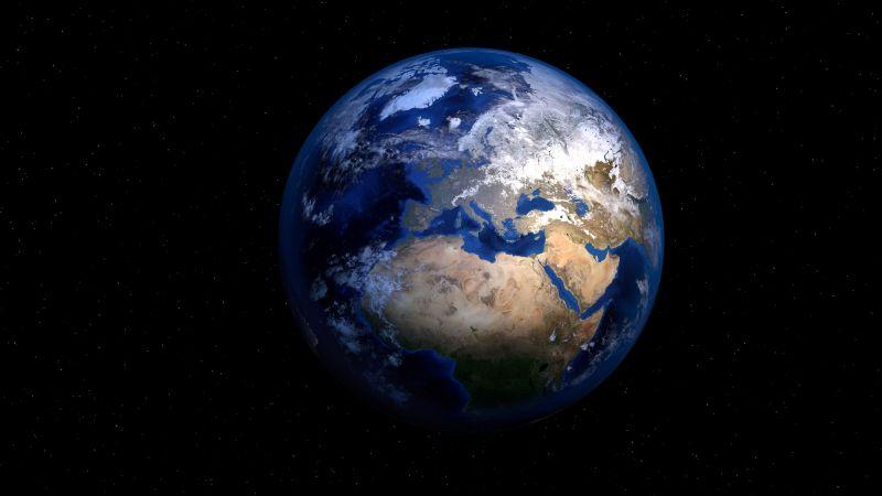 Earth, Planet, Black background, Stars, 5K, Wallpaper