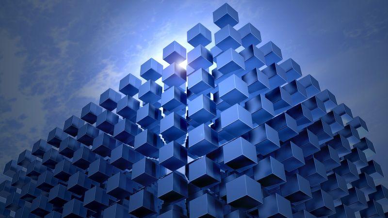 3D cubes, Graphics, Architecture, CGI, Blue, Wallpaper