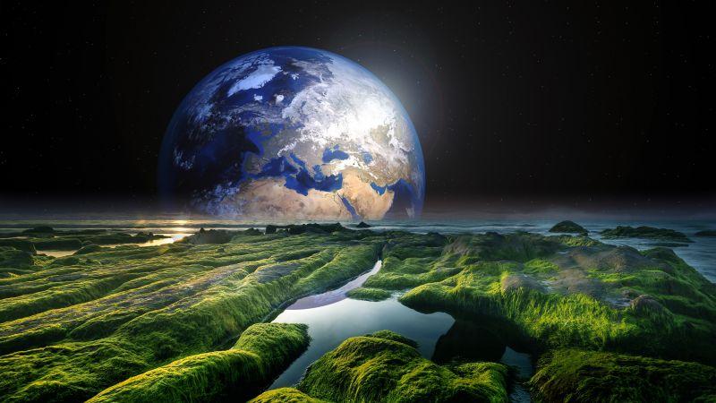 Earth, Space, Stars, Green, Solaris, Water, Sea, Wallpaper