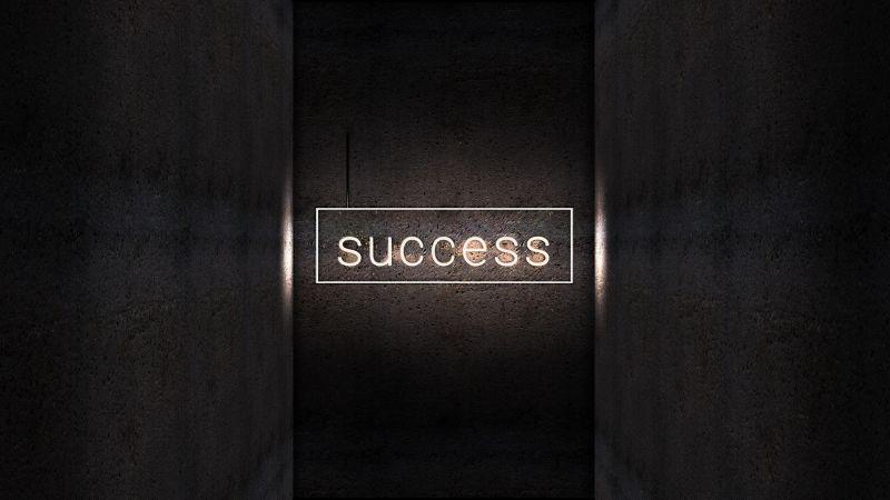 Success, Dark background, Neon light, Wall, Wallpaper