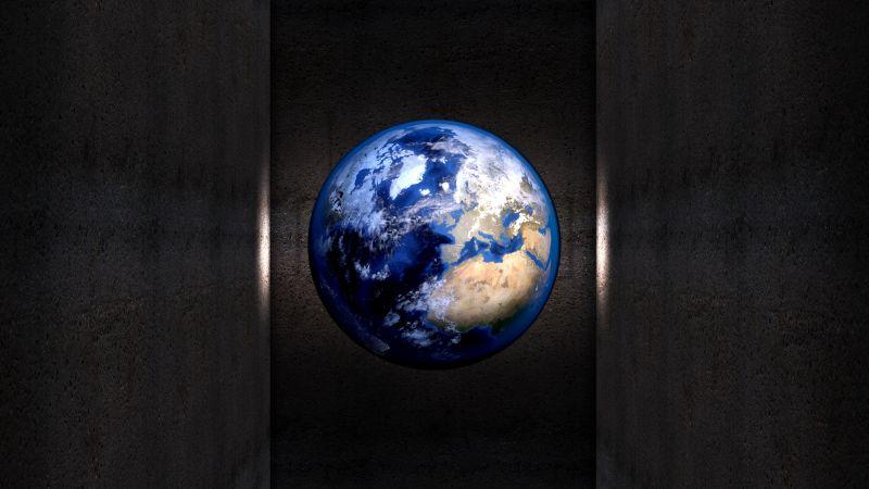 Earth, Planet, Dark background, Wall, Wallpaper