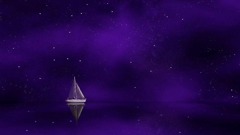 Sailing boat, Ship, Purple background, Stars, Wallpaper
