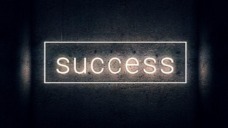 Success, Neon light, Dark background, Wall, Wallpaper