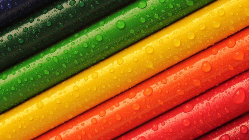 Crayons, Pencils, Multicolor, Colorful, Water drops, 5K, Wallpaper