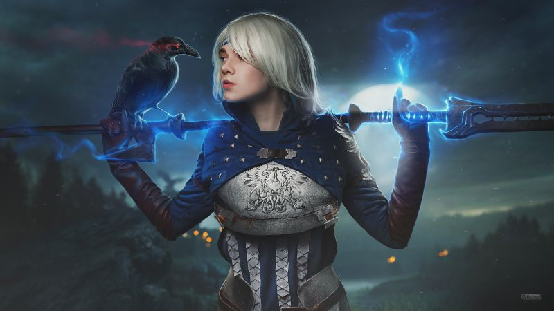 Dragon Age, Cosplay, Crow, Hawke, Magical, Blue, Fantasy girl, Wallpaper