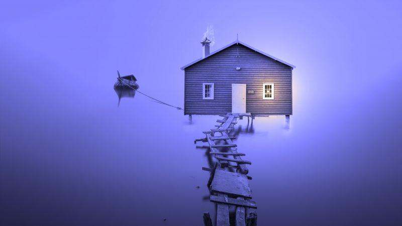 Boathouse, Wooden pier, Violet, Bankside, 5K, Wallpaper