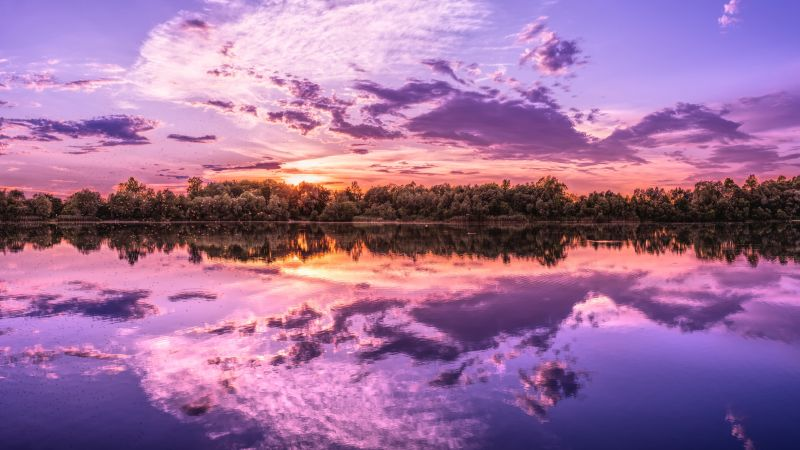 Sunset, Evening sky, Clouds, Beautiful, Reflections, Purple, Lake, 5K, 8K, Wallpaper
