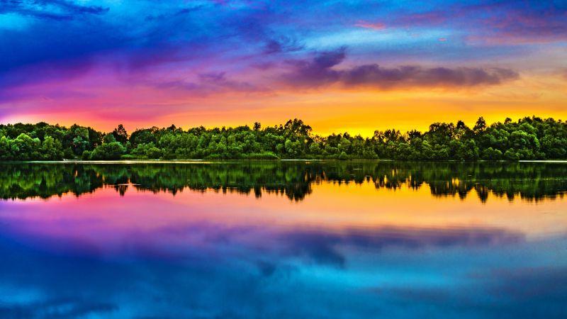 Evening sky, Multicolor, Colorful, Lake reflection, Sunset, Water, Bright, Landscape, 5K, 8K, Wallpaper
