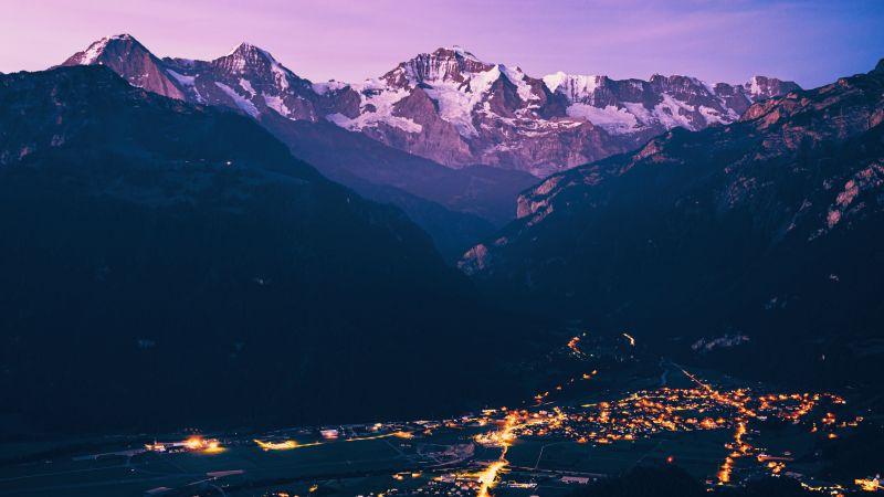 Mountain Peak, Purple, City lights, Aerial view, Dawn, 5K, Wallpaper