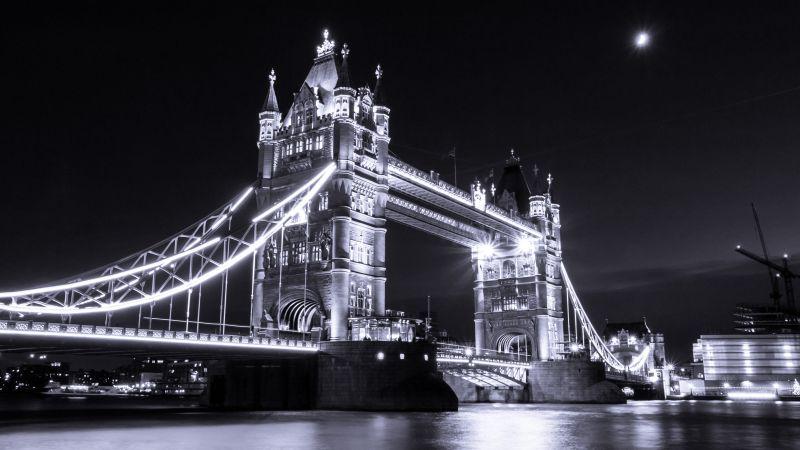 Tower Bridge, London, River Thames, Monochrome, Dark background, Lights, Cityscape, Night, Moon, Wallpaper